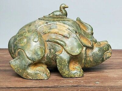 China Ancient Warring States Period Tomb-guarding Beasts Statue Bronze Ornament