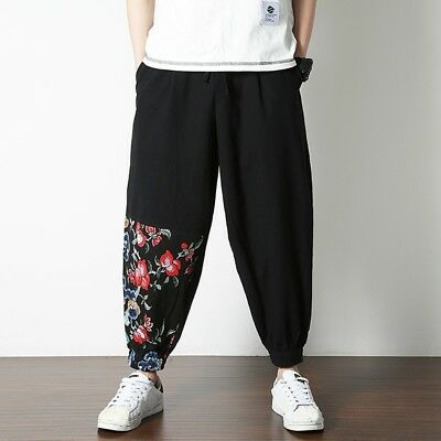 Men Cotton Linen Harem Pants Trousers Chinese Floral Baggy Bloomers Casual Black