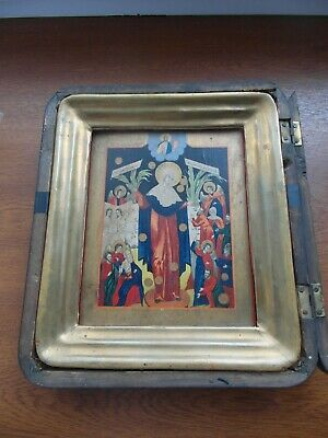 """antique XXc RUSSIAN WOOD icon""""Mother of God Joy of All Who Sorrow with pennies"""""""