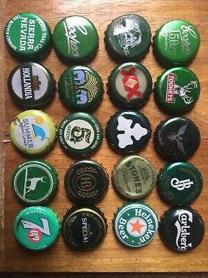 20 x GREEN Mixed Crown Seal Bottle Tops Caps