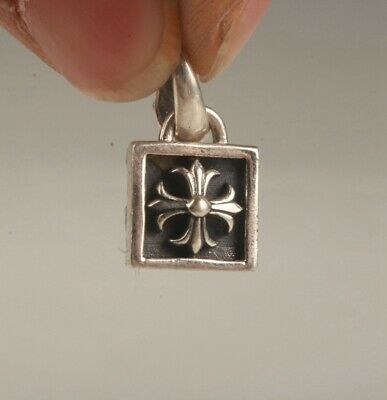 China 925 Silver Hand Carving Christian Cross Pendant Good Luck Gift Collec Old