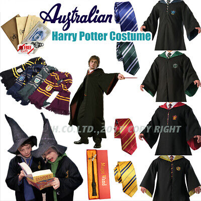Harry Potter Gryffindor Robe Cape Halloween Scarf Tie LED Wand Cosplay Costume