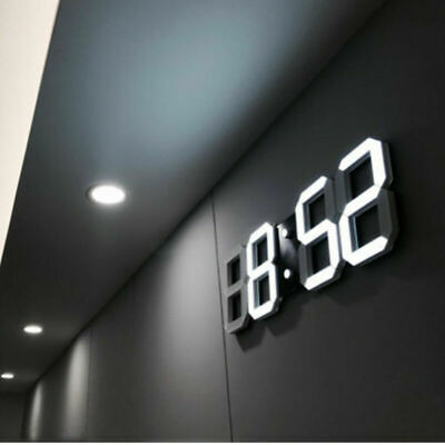Large 3D Modern Digital LED Wall Clock 24/12 Hour Display Timer Alarm Home USB..