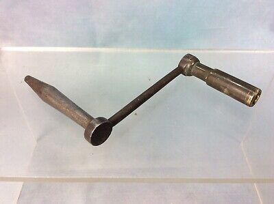 Antique Dog Leg Crank Long Case Clock Key, Brass And Steel