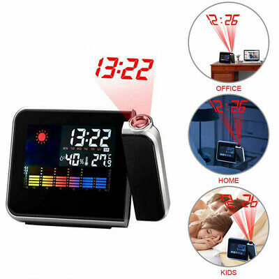 LED Digital Projection Alarm Clock Weather Thermometer Snooze Back Light Station