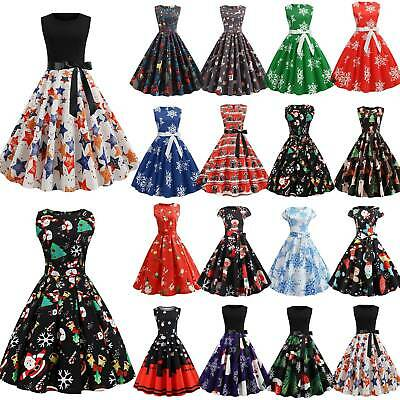 Womens Sleeveless Christmas Xmas Retro Swing Skater Dress Party Vintage Festival