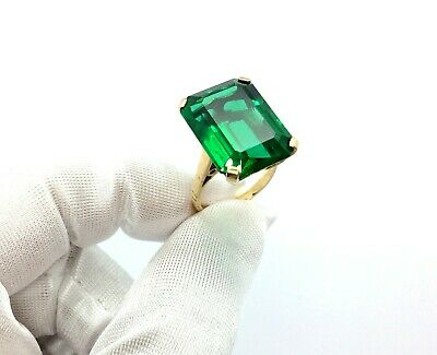 Antique 1920's Art Deco 9ct Gold Large Emerald Green Paste Stone Ring Size – M