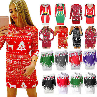 Women's Xmas Knitted Jumper Christmas Slim Dress Sweater Pullover Bodycon Tops