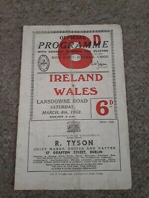 Ireland V Wales 1952  Wales Grand Slam Rugby Union Programme