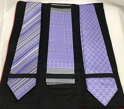 Zilli Two Lavender Purple Silk Tie and Pocket Square Set, New