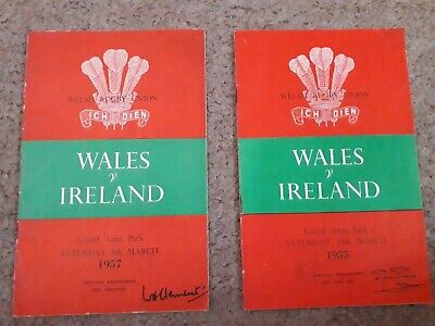 1955 and 1957 WALES V IRELAND RUGBY UNION PROGRAMMES