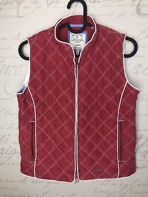 Joules Kids Girls Red Quilted Gilet Body Warmer Stripe Age 9-10 Years