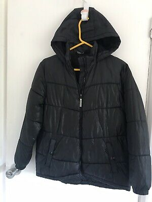 Boys Black Puffa Style Jacket Age 11-12 Years With Hood