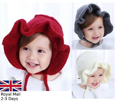 Baby Girls Warm Knitted Hat Kids Infant Princess Colonial Bonnet Cap Winter