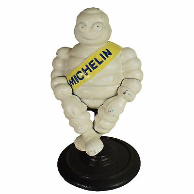 Sitting Michelin Man Mascot Bibendum Cast Iron Statue Figurine On Stand