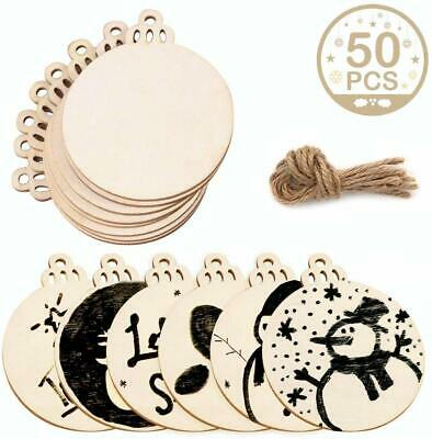 50pcs Natural Wood Slices Unfinished Predrilled DIY Wooden Christmas Ornaments