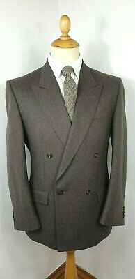 SUIT DOUBLE BREASTED BROWN GREY WOOL 2 PIECE VINTAGE 1980s SOVRANO MED 40 SHORT
