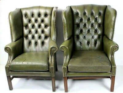 Pair of Vintage Chesterfield Buttoned Wing Back Leather Armchairs [5567]