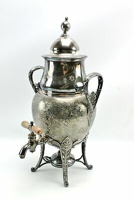 Antique Reed & Barton Nouveau Asian Bird Silverplate Samovar Coffee Tea Urn 2962