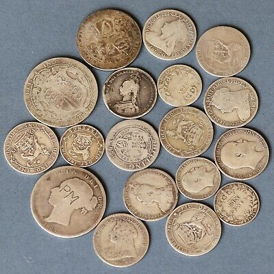 A Collection Of English Pre-1920 Silver Coins, Victorian And Later. 99 Grams.