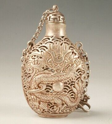 Tibetan Silver Carving Dragon Statue Snuff Bottle Hollow Pendant Old Gift