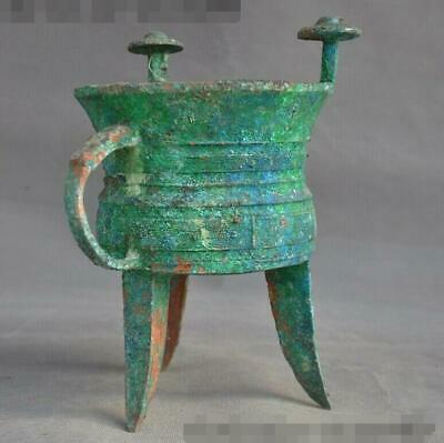 Antique Shang Zhou period Bronze Ware beast pattern dynasty Goblet wineglass cup