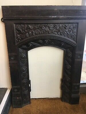 VINTAGE ANTIQUE CAST IRON BEDROOM FIREPLACE ARTS & CRAFTS Design Flowers bird