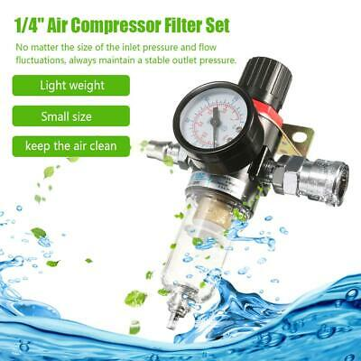 1/4'' Air Compressor Filter Water Separator Trap Kit Oil Regulator Lubricator