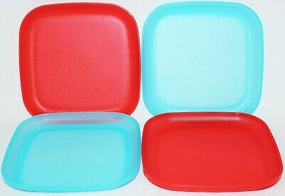 """Tupperware Plates Set of 4 Square Lunch Dishes 8"""" Luncheon Aqua Blue & Red"""