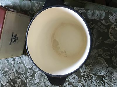 Dutch Oven Pot Cast Iron Enamel 2 Quart -WHITE & BLACK-NO LID