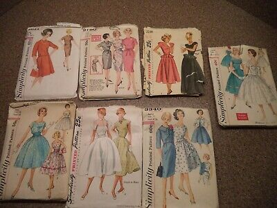 Lot of 7 Vintage 1960's~70's SIMPLICITY Womens Girls Dress Sewing Patterns MIXED