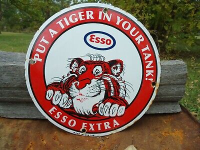 Dated 1961 Esso Extra Gasoline Porcelain Gas Pump Sign,Put A Tiger In Your Tank
