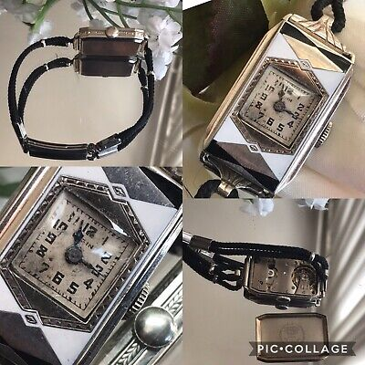 1920's Ladies Art Deco Black Enamel Elgin Watch ~ Runs