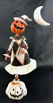 Halloween Harlequin Pumpkin Head Girl Figurine--Happy Dancer under the Moon!