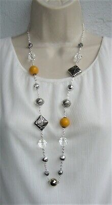 "New Long Big Bead Chunky Necklace 34"" Mustard Yellow Antique Silver Plated Chain"