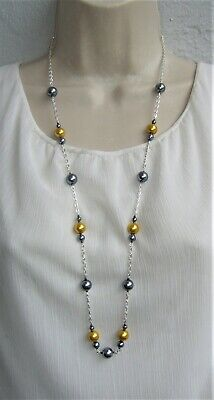 """New Long Glass Bead Necklace 33"""" Mustard Yellow Black Silver Plated Chain"""