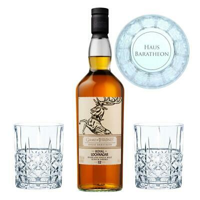 Game of Thrones Haus Baratheon Set Royal Lochnagar Whisky +2 gravierte Gläser
