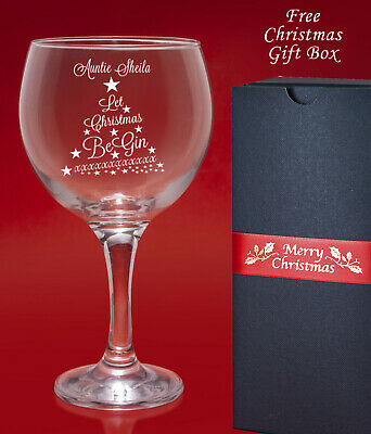 Christmas Personalised Engraved Gin Wine Cocktail Glass Gift-Free Christmas Box