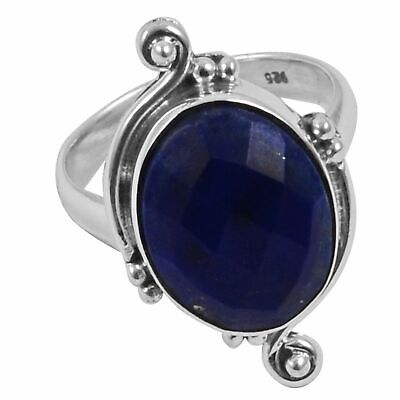 Faceted-Lapis Lazuli Solid 925 Sterling Silver Ring  Jewelry Size-7.5 AR-2429