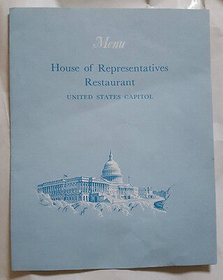 House of Representatives Restaurant Menu United States Capitol 1970 Vintage