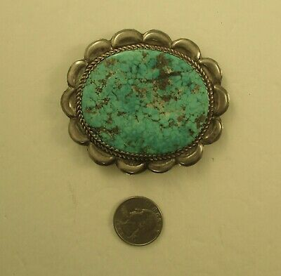Older Museum Quality Southwest  Huge Turquoise Button  Sterling Navaho