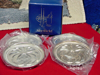 Vintage Sheffield Silver Co.NEW Silver Plate Coasters Set Of 4 Made in ITALY