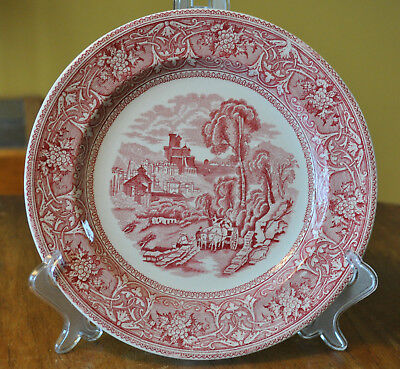 Lovely Antique Ironstone Red Transferware Staffordshire Plate Edge Malkin Italy