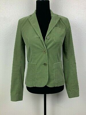 Theory Womens Jacket Olive Green Corduroy Blazer Long Sleeve Cotton Size 0