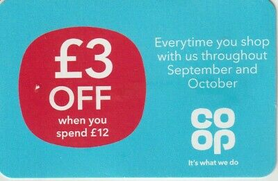 Coop Supermarket £3 off voucher when you spend £12 during October- unlimited use