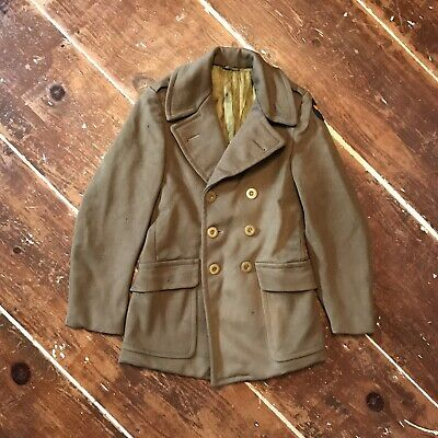 Vintage 40s WWII US Army USAAF OD Wool Mackinaw Pea Coat Mens Small