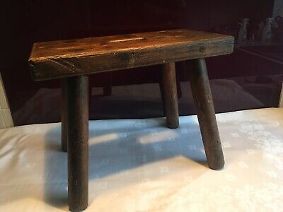 Lovely antique Victorian Foot Stool / Step Stool / Milking Stool Primitive/Welsh