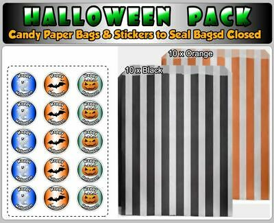 Halloween Orange & Black Sweet Paper Candy Stripe Paper Bags & Stickers, ⭐⭐⭐⭐⭐
