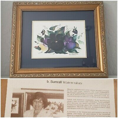 Blanche Sumrall framed, signed painting watercolor /print? Flower Pansy violets