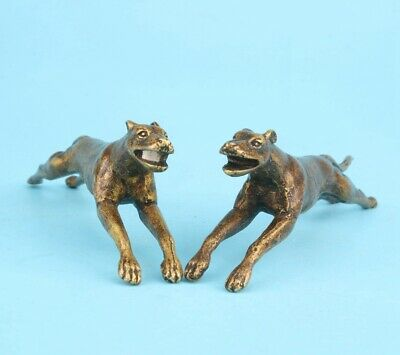 2 Unique China Bronze Statue Animal Dog Mascot Lady Decorated Gift Collec Old